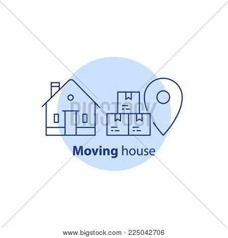 Moving house services, relocation concept, package and transportation, order delivery to door, receive parcel, vector line icon
