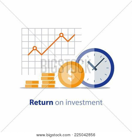 Annual payment, financial period, income growth, finance productivity graph, return on investment chart, budget planning, expenses concept, accounting report, statistic dashboard, vector flat icon