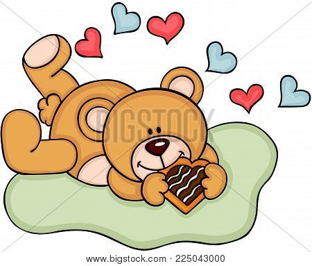 Scalable vectorial representing a teddy bear eating heart shaped cookie, illustration isolated on white background.