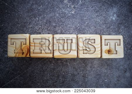 Wood blocks with letters. Wood blocks with words. Trust - text on wooden blocks on dark grey background.