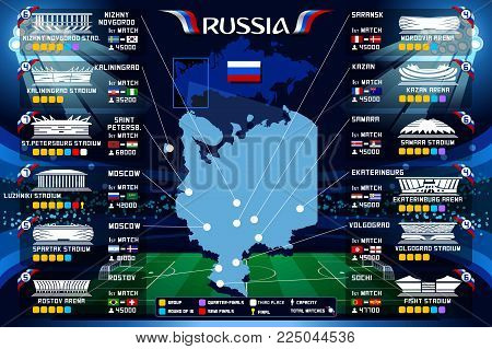 Moscow stadium Russia soccer stadium map and infographics vector illustration.