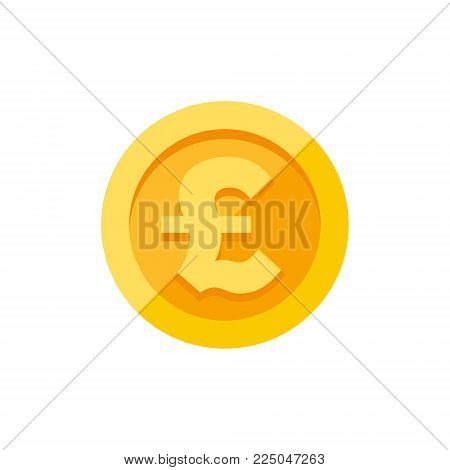 British pound sterling currency symbol on gold coin, money sign flat style vector illustration isolated on white background