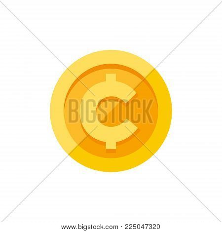 Cent, centavo currency symbol on gold coin, money sign flat style vector illustration isolated on white background