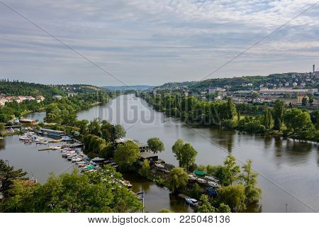 Panoramic view of Prague from Vysehrad, Czech Republic, Bohemia