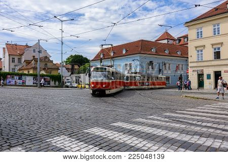 Prague, Bohemia - June 6, 2017: Prague tram on Prague street in Hradcany, Czech Republic