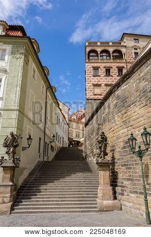 Stone staircase in Prague Castle, Hradcany, Prague, Czech Republic