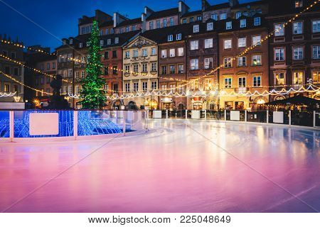 Ice rink on the open air at the city center. Christmas skating