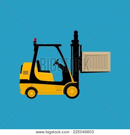 Forklift Truck Isolated on a Blue Background, Yellow Vehicle Forklift Picks up a Box, Vector Illustration
