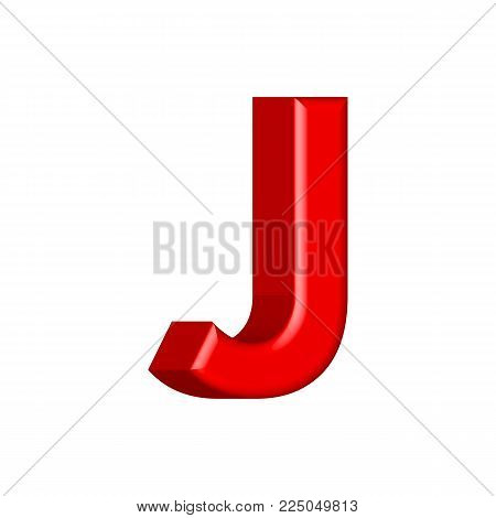 Font set with letters J Glossy pink paint letters. 3D render of bubble font with glint.