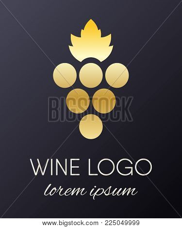 Gold gradient grapes logo. Golden wine or vine logotype icon. Brand design element for organic wine, wine list, menu, liquor store, selling alcohol, wine company. Vector illustration.