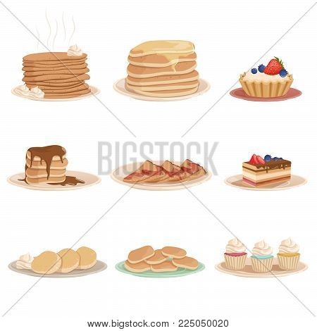 Colorful set with various sweet desserts. Plates with stack of pancakes, cupcakes, cake, fritters and tartelette. Tasty breakfast. Design for pastry shop, recipe book or menu. Flat vector illustration