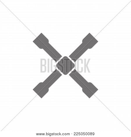 Wheel wrench cross icon on a white background