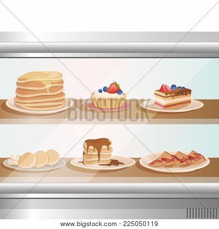 Glass showcase of cafe or bakery shop with various sweet desserts. Plates with stack of pancakes, fritters, cupcakes, cake and tartelette. Tasty breakfast. Cartoon vector illustration in flat style.