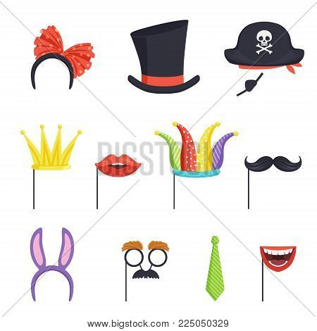 Colorful collection with various carnival accessories. Hoop with bow and bunny ears, tie, cardboard crown, lips, mustache, jester cap, cylinder and pirate hat. Isolated flat vector illustration.