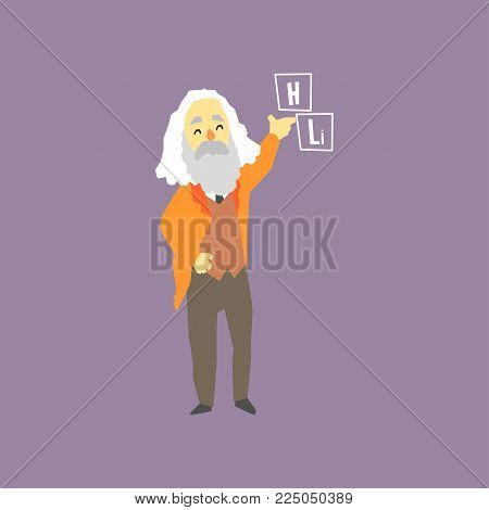 Famous Russian chemist - Dmitri Mendeleev. Inventor of the periodic table of elements. Smiling gray-haired man character with beard. Cartoon flat vector illustration isolated on purple background. poster