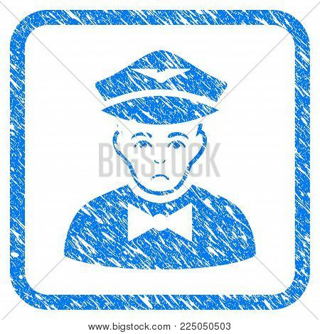 Airline Steward rubber seal stamp watermark. Icon vector symbol with grunge design and unclean texture in rounded frame. Scratched blue stamp imitation on a white background.