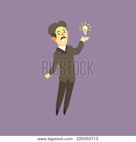 Full-length portrait of Nikola Tesla - famous scientist, electrical engineer and inventor. Cartoon man character and bright lamp. Vector illustration in flat style isolated on purple background.