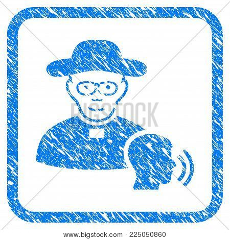 Believer Confession rubber seal stamp watermark. Icon vector symbol with grunge design and corrosion texture inside rounded rectangle. Scratched blue stamp imitation on a white background.