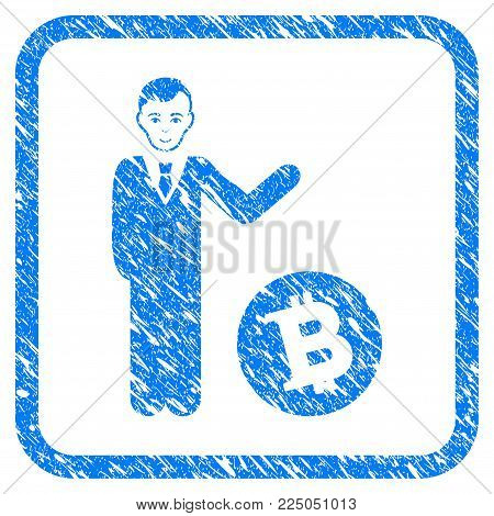 Bitcoin Businessman rubber seal stamp watermark. Icon vector symbol with grunge design and dirty texture inside rounded squared frame. Scratched blue sticker on a white background.