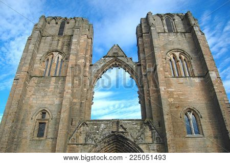 Elgin Cathedral towers on a clear day