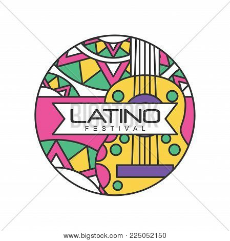 Creative round-shaped logo for Latino festival. Music folk celebration. Abstract emblem with guitar. Line art with colorful fill. Design for badge, poster, flyer. Vector illustration isolated on white