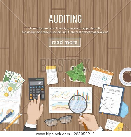 Auditing concepts. Auditor inspects assessing financial documents, prepares a report. Businessman hands with magnifying glass above documents, graphics, charts. Accounting, analysis, analytics. Vector
