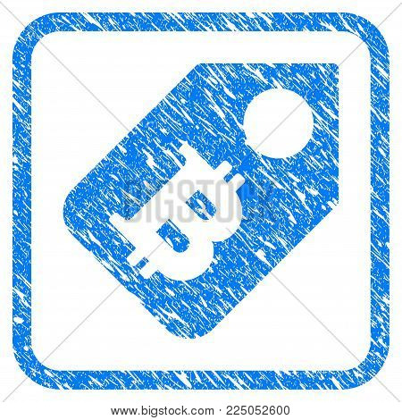 Bitcoin Price Tag rubber seal stamp watermark. Icon vector symbol with grunge design and dirty texture in rounded square. Scratched blue sign on a white background.