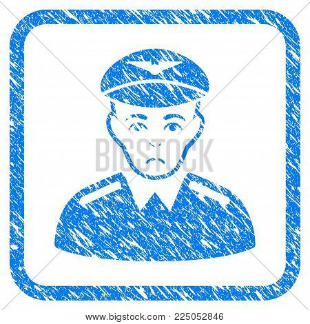 Aviator rubber seal stamp watermark. Icon vector symbol with grunge design and corrosion texture in rounded rectangle. Scratched blue stamp imitation on a white background.