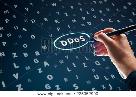DDoS attack concept. Cyber security specialist looking for evidence of DDoS attack in log file.