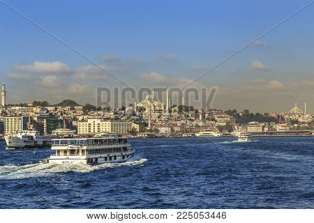ISTAMBUL, TURKEY - SEPTEMBER 15, 2017: It is a view of the historical district of Fatih from the Golden Horn.