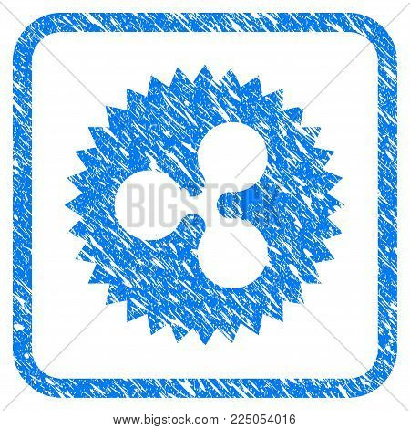 Ripple Insignia Stamp rubber seal stamp imitation. Icon vector symbol with grunge design and unclean texture inside rounded square. Scratched blue stamp imitation on a white background.