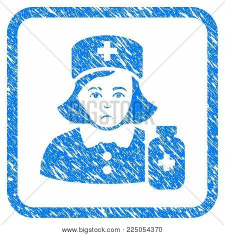 Apothecary Lady rubber seal stamp watermark. Icon vector symbol with grunge design and dirty texture inside rounded square. Scratched blue emblem on a white background.