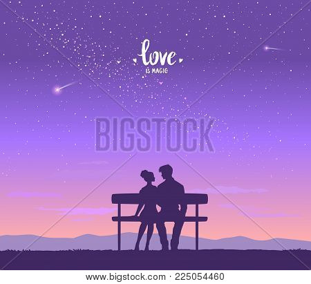 Happy Valentines Day Illustration. Romantic Silhouette Of Loving Couple At Night Under The Stars. Ve