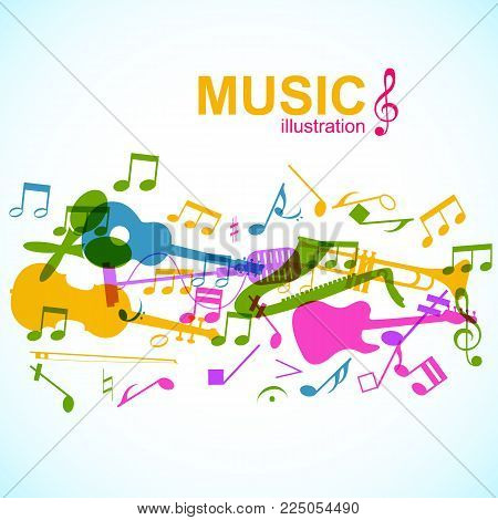 Light musical poster with colorful music instruments stage microphone and notes vector illustration