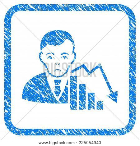Stock Trader rubber seal stamp watermark. Icon vector symbol with grunge design and dust texture in rounded square. Scratched blue emblem on a white background.