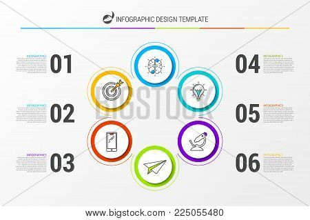 Infographic design template. Business concept with 6 steps. Can be used for workflow layout, diagram, banner, webdesign. Vector illustration