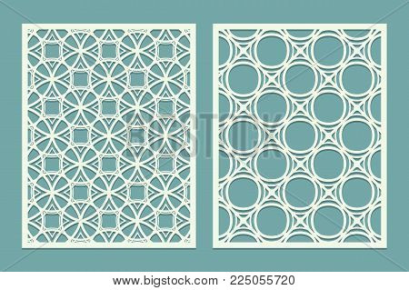 Set of die laser cut card with the silhouette of the bride and groom. Template for wedding invitation or greeting card. Panel stencil pattern. Vector illustration.