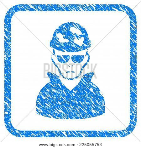 Soldier rubber seal stamp watermark. Icon vector symbol with grunge design and dust texture in rounded rectangle. Scratched blue sticker on a white background.