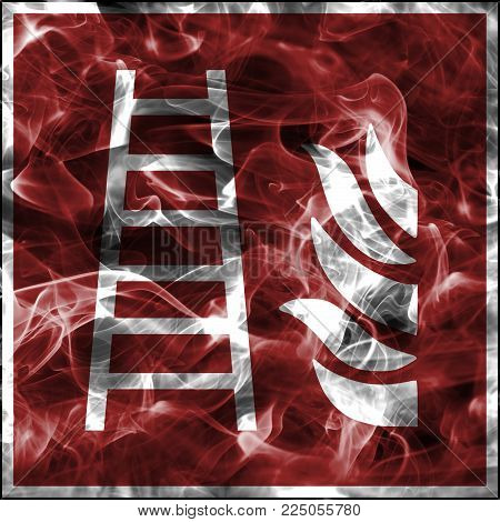 Emergency smoke symbols for firefighting equipment. Standard fire safety sign for fire ladder