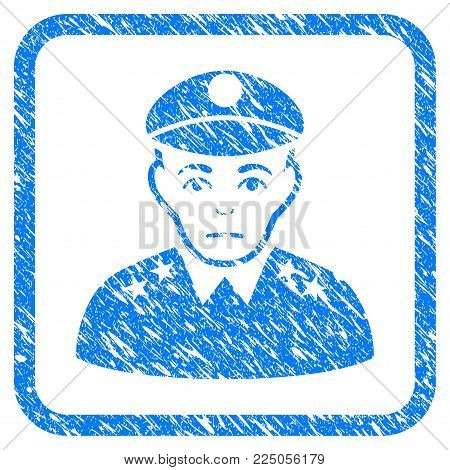 Army General rubber seal stamp imitation. Icon vector symbol with grunge design and dust texture inside rounded frame. Scratched blue sign on a white background.