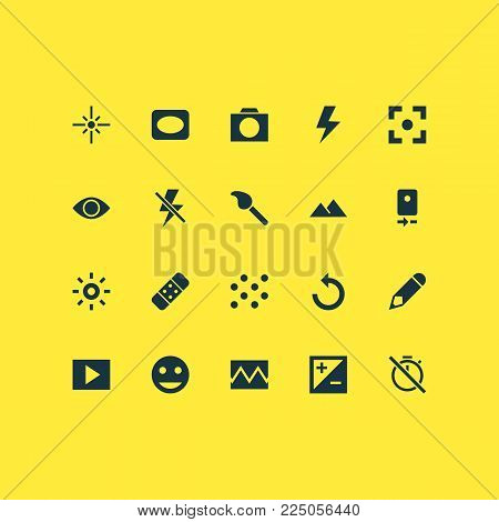 Image icons set with tag face, effect, edit and other multimedia elements. Isolated vector illustration image icons.