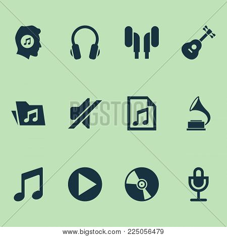 Multimedia icons set with music lover, gramophone, microphone and other dossier elements. Isolated vector illustration multimedia icons.