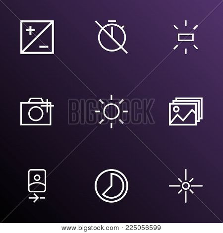 Image icons line style set with no timer, mode, photographing and other flare elements. Isolated vector illustration image icons.