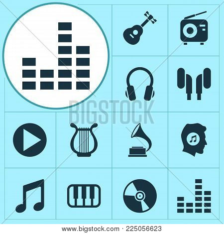 Multimedia icons set with vinyl, gramophone, play and other meloman elements. Isolated vector illustration multimedia icons.