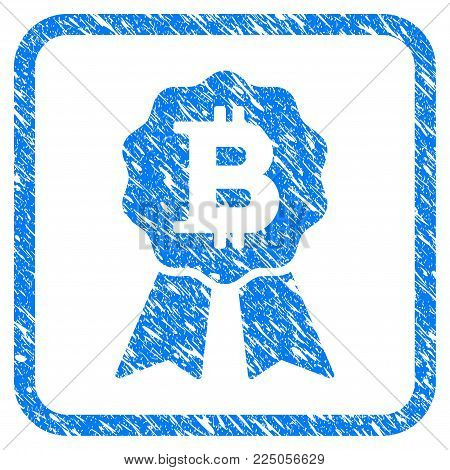 Bitcoin Certificate Seal rubber seal stamp watermark. Icon vector symbol with grunge design and corrosion texture in rounded frame. Scratched blue emblem on a white background. poster