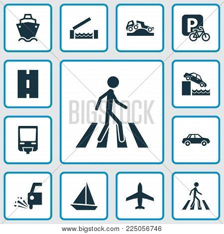 Transport icons set with airplane, sail boat, car and other slippery elements. Isolated vector illustration transport icons.