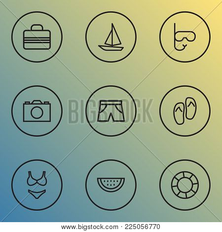 Season icons line style set with shorts, sail boat, bikini and other briefs elements. Isolated vector illustration season icons.