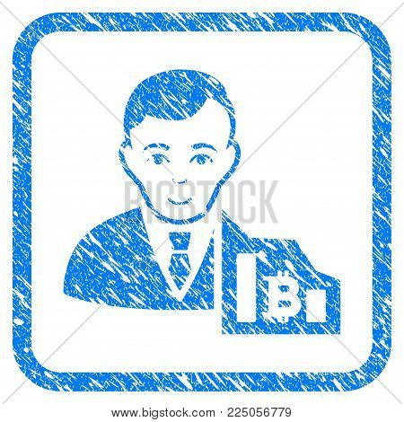 Bitcoin Trader rubber seal stamp imitation. Icon vector symbol with grunge design and corrosion texture inside rounded square frame. Scratched blue sign on a white background.