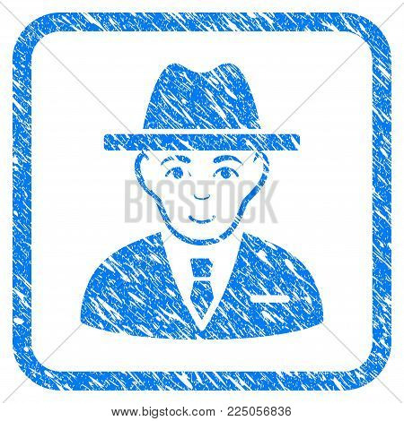 Agent rubber seal stamp imitation. Icon vector symbol with grunge design and corrosion texture inside rounded square. Scratched blue emblem on a white background.