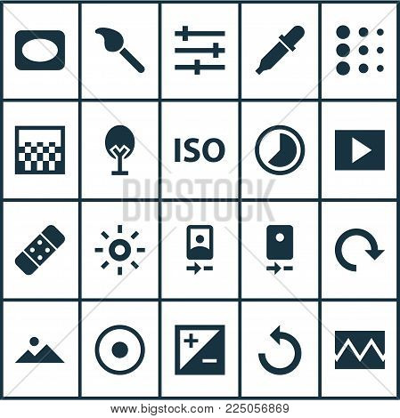 Photo icons set with reload, slideshow, timelapse and other wb iridescent elements. Isolated vector illustration photo icons.